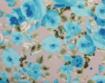 Taupe Blue and Green Floral Liverpool Knit Fabric, 1 yard