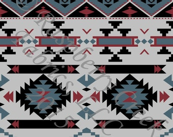Grey Blue Black and Burgundy Geometric Aztec 4 Way Stretch FRENCH TERRY Knit Fabric, Club Fabrics