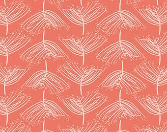 Coral and Cream Geometric Dandelion Fabric, Forest Floor by Bonnie Christine for Art Gallery Fabrics, Laced in Sunset, 1 Yard