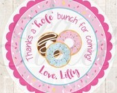 Donut Birthday Stickers, Sprinkle Party, Thank You Stickers, Donut Birthday Decorations, Pajama Party, Sprinkle Baby Shower - Set of 24