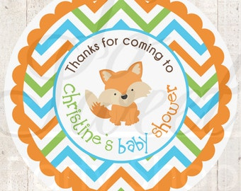 Woodland Baby Shower Favor STICKERS, Thank You Labels, Woodland Animals, Foxy Mama, Baby Shower Decorations, Gender Neutral Baby - Set of 24