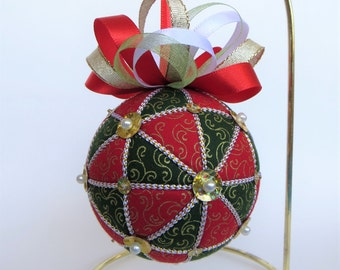 Christmas Ornament - Red, Green and Gold Geometric