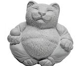 Zen Serene Lucky CAT Buddha Statue Sculpture Garden Art by Tyber Katz / Cat Lover Gift