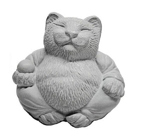 Zen Serene Lucky CAT Buddha Statue Sculpture Garden Art by Tyber Katz