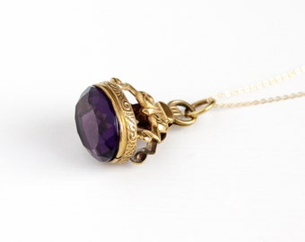 Antique Purple Glass Stone Fob Pendant Necklace - Vintage Victorian Simulated Amethyst Brass Seal Style Charm on Gold Filled Chain Jewelry