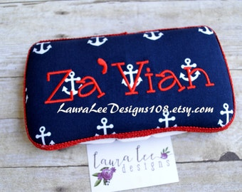 You Choose Trim Color, Nautical Anchors on Navy, Travel Wipe Case, Baby Wipe Case, Baby Shower Gift, Baby Wipe Holder, Personalied Wipe Case