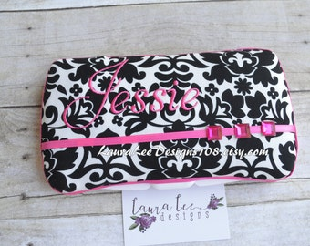 Black and Cream Damask with Pink Accents Boutique Style Travel Baby Wipe Case, Personalized Wipe Case, Diaper Wipes Case, Nappy Wipe Case