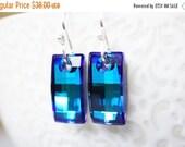 15OFFSALE Earrings, Crystal Earrings, Silver Earrings, Blue Earrings, Bermuda Blue, Swarovski Crystal, Urban Pendant, No. ESH016