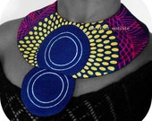 Handmade fabric neckwear, Striking African Bib necklace, One of a Kind Tribal Patchwork Collar, Unique statement piece, One size