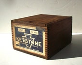 Vintage Wood Storage Box with Original Label / KEYSTONE / Small Wood Box / Industrial Wood Box / Advertising Box / Storage Organization