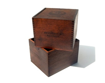 Vintage Antique Wood Cigar Boxes / Gift Box / La Corona / Storage Box / Set of 2 / One with Sliding Top / One Open Box