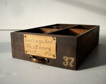 Vintage Hardware Store Drawer / Oak and Galvanized Metal Parts Bin / Storage Organization / Storage Drawer / Old Wood and Metal Drawer #37