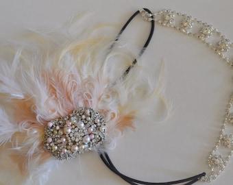 Gatsby Headband, Bridal Feather headband, Blush and Champagne with Ivory feather headband, Gatsby headpiece, Art Deco headband, bridal set