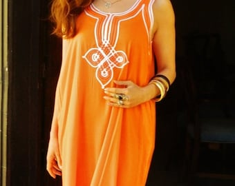 SPRING 30% OFF SALE Resort Non-Sleeve Orange Caftan Kaftan Agadir -Perfect for Valentine's day gift,resortwear,loungewear, birthdays, honeym