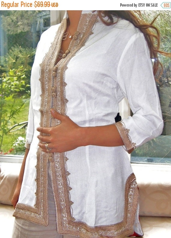 Summer Sale Handmade White & Gold Moroccan Tunic