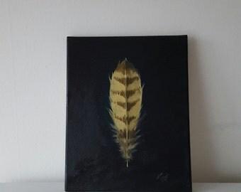 Barn Owl Feather Original Oil on Canvas 9.2 x 12 inch