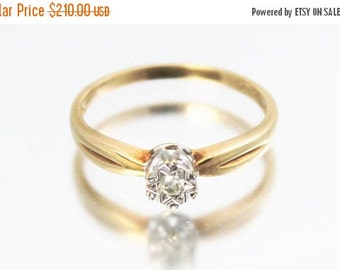 SUMMER SALE Vintage Ladies Diamond Solitaire Ring Wedding Engagement 9ct 9k Yellow Gold | FREE Shipping | Size N.5 / 7