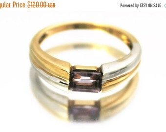 XMAS SALE Vintage Ladies Amethyst Ring Baguette Engagement White Yellow  Gold 0.34ct 9ct 9k | FREE Shipping | Size 0.5 / 7.5