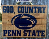 Penn State Sign God Country Faith distressed barnwood reclaimed wood wall decor We Are lions art fan merchandise Pennsylvania