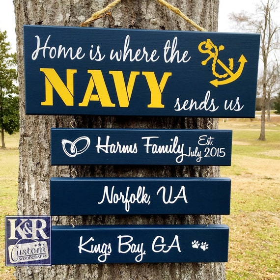 Home is Where the Air Force sends us Navy Army Coast Guard Marine Corps USMC sends us Military Family Military Duty station sign '3 Bars'