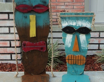 LARGE Tiki Mask With Feet, Wood Sculpture, Table Top Tiki, Tiki Man, Rustic Beach House, Tiki Bar