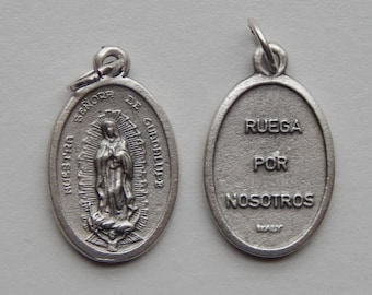 5 Patron Saint Medal Findings - Nuestra Senora de Guadalupe, Die Cast Silverplate, Silver Color, Oxidized Metal, Italy Made, Charm, RM1104