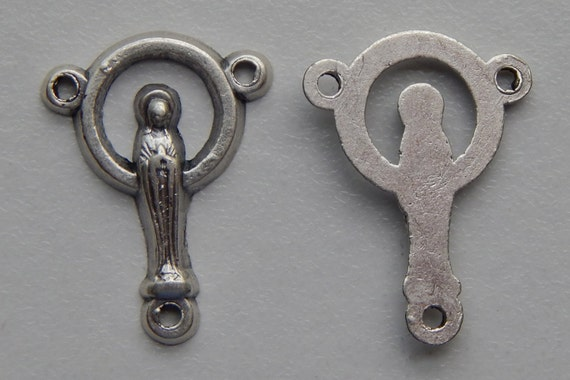 5 Rosary Center Piece Findings - 18mm Long, Miraculous, Mary, Plain, Long Slim Shape, Silver Color Oxidized Metal, Rosary Center, RC214