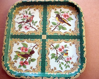 Vintage Birds Daher Tin Tray large green party