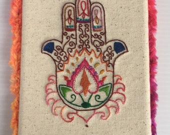 Hamsa Hand Mounted Embroidered Art
