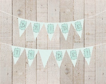 Mint Stripes Bridal Shower Banner Welcome Baby Aqua Baby Shower Bride to Be Mint Twins Banner Aqua Happy Birthday Mint - INSTANT DOWNLOAD
