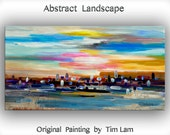 "Original Texture Art painting huge Impasto brushwork oil painting Abstract Painting on gallery wrap linen canvas by Tim Lam 48""  x 24"""
