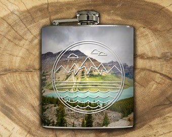 Mountain Landscape Whiskey Flask Traveler Camping Hiking Outdoors Backpacking Nature Guys Gift Stainless Steel 6 oz Liquor Hip Flask LC-1596