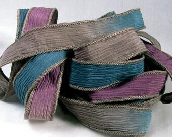 Silk Ribbons - Silk Crinkle Ribbon Bracelet Fairy Ribbons - Berry, Blue, Driftwood, Quintessence - Regal