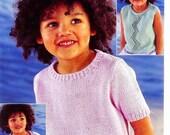 VINTAGE KNITTING Pattern Childs DK 4Ply Short Sleeved Sleeveless Tops Wendy 4820