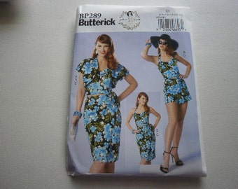 Pattern Women Plus Size Sarong Skirt Bustier Bolero Shorts Sizes 14 to 22 Butterick BP289 A