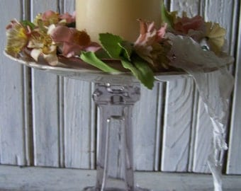 Tall Pedestal Candle Holder Vintage Dishes Glassre Rwae-purposed Timeworn Natural Patina Demure Colors Fluted Edged China Aged Crackeled