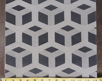 Custom Curtains Valance Roman Shade Shower Curtains in Dark Grey Geometric Block Pattern Fabric