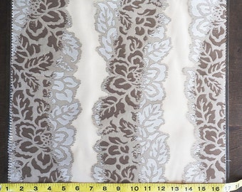 Custom Curtains in Sheer Beige with Brown / Silver Floral Stripe Pattern One Panel Custom sizes available
