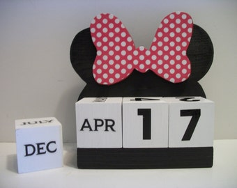 Minnie Mouse Inspired Calendar Perpetual Wood Block Minnie Mouse Inspired Theme Decor