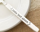 Taste Test spoon: hand stamped vintage spoon  twilight