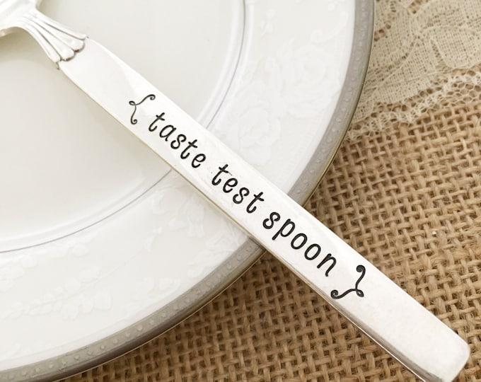 Taste Test spoon: hand stamped vintage spoon  twilight