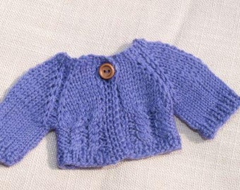 """Waldorf Doll Clothes -Hand knitted Purple Sweater , fit 9"""" - 10"""" inch dolls"""
