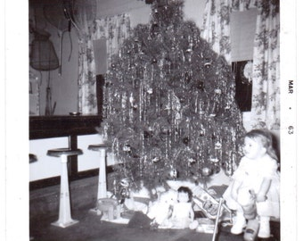 Vintage Photo - Toddler by Christmas Tree - Vintage Photographs, Vernacular, Found Photos (C)