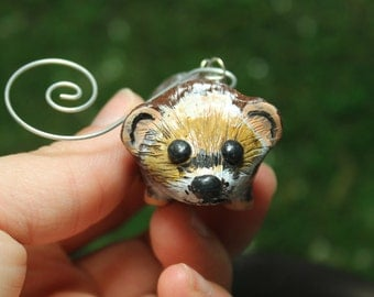 Hedgehog polymer clay Christmas Ornament
