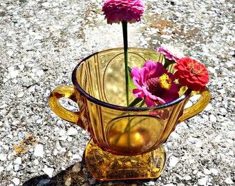 Antique Amber Glass Urn Shaped Vase/ Sugar Spooner Vase/ Two Handled Vase circa 1890s