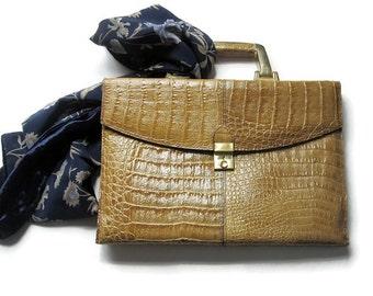 Croco Leather Handbag- Vintage Taupe Leather Alligator Embossed Purse/ Croco Embossed Italian Bag- Made in Italy
