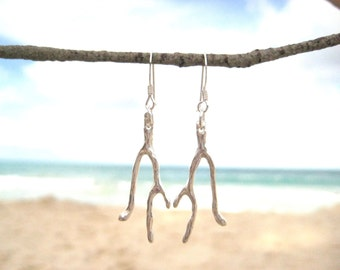Coral Branch Earrings, Hand Cast Sterling Silver Coral Earrings, Ocean Lover Gift, Beach Wedding Jewelry, Surfer Gift