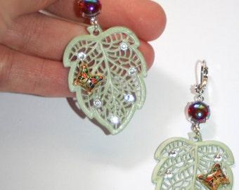 Vintage enamel leaf butterfly swarovski crystal ruby bombe glass silver earrings