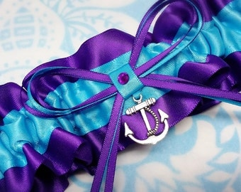 Wedding Garter SINGLE or SET, beautiful  purple and turquoise blue satin  with silver tone anchor, nautical garter