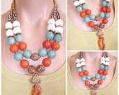 SHOP CLOSING SALE: Statement Necklace Ashira Tibetan Old Agate, Orange and Sky Blue Tagua Ivory Nuts, White Coral, African Hand Crafted Bras